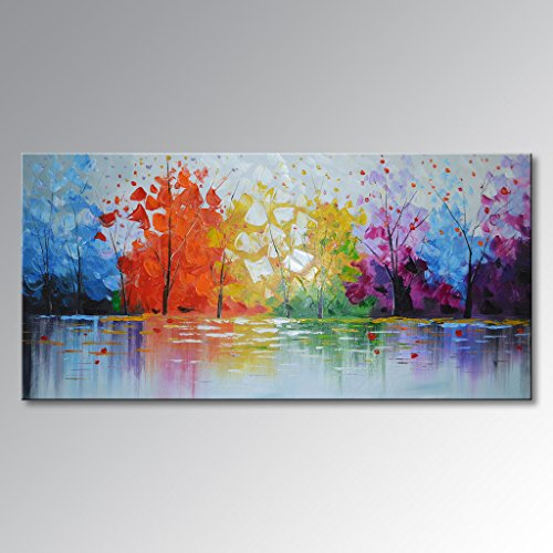 EVERFUN ART Hand Painted Palette Knife Oil Painting Modern Abstract Wall Art Haning Lake Scenery Landscape Canvas Picture Framed Ready to Hang 48'' W x 24'' H by EVERFUN ART