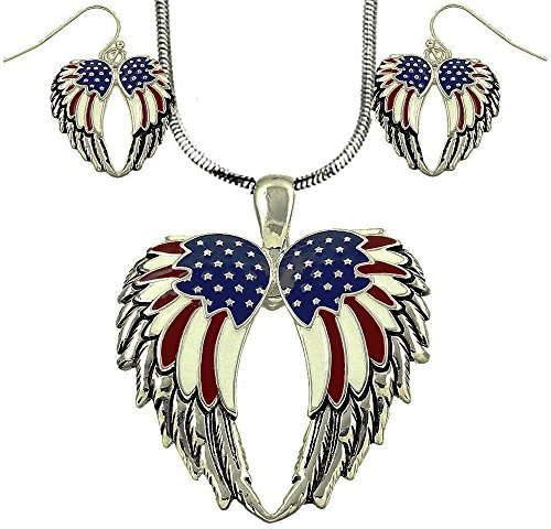 DianaL Boutique Angel Wings USA Flag Large Pendant Necklace and Earring Set with 24