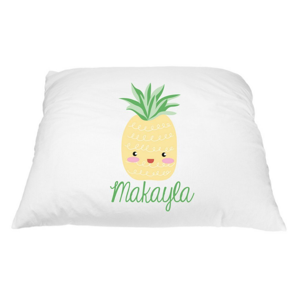 Personalized Kid's Pineapple Pillowcase - Microfiber Polyester Standard 20 by 30 Inches, Pineapple Pillow Cover, Custom Pillowcase, Food Pillow Case, Name Pillowcase, Girls Pineapple Room Decor by Pillows2