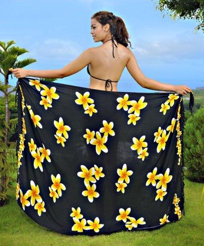 1mundo pareos Bañador para cover-up diseño de Plumeria–Pareo de las mujeres en su elección de color Negro / Amarillo