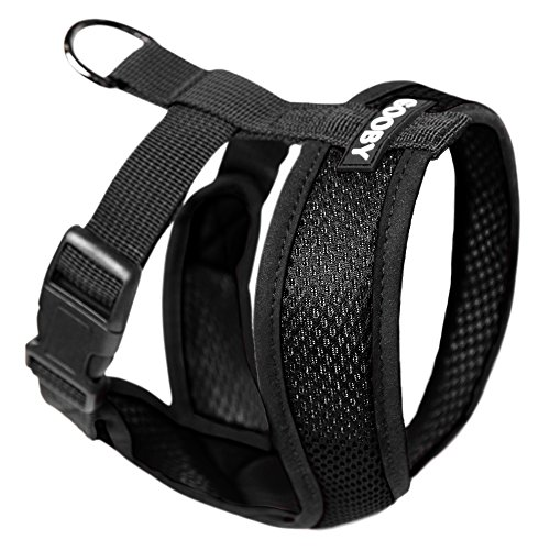 Choke Free Dog Harness - GOOBY Choke Free X Frame Soft Harness with Micro Suede Trimming for Small Dogs, Medium, Black