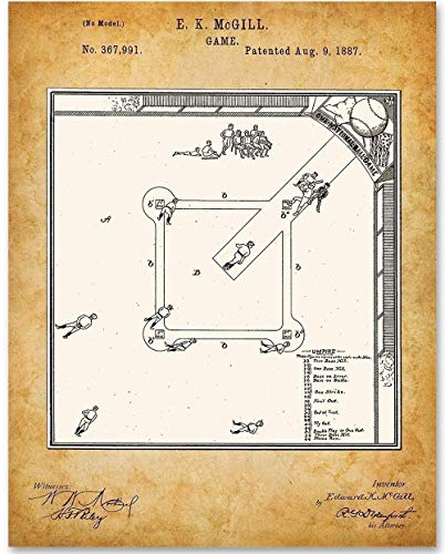 Baseball Game - 11x14 Unframed Patent Print - Great Gift for Athletes and Sports Fans (Baseball Youth Bat Wood Series)