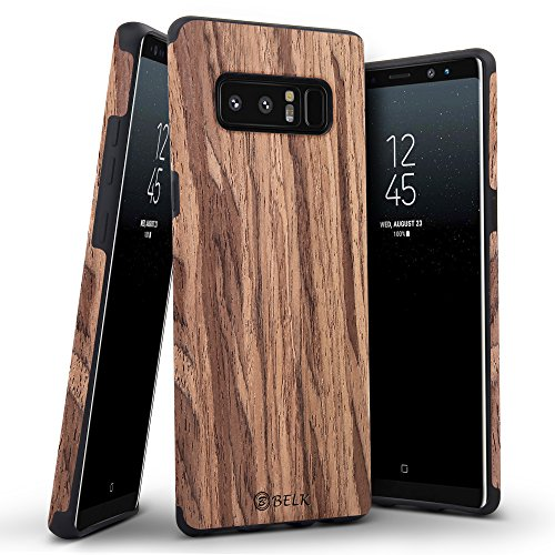 B BELK [Air To Beat] Non Slip [Slim Matte] Wood Grip Rubber Bumper [Ultra Light] Soft TPU Back Cover, Premium Smooth Wooden Shell for Samsung Galaxy Note 8-6.3 inch, Cherry ()