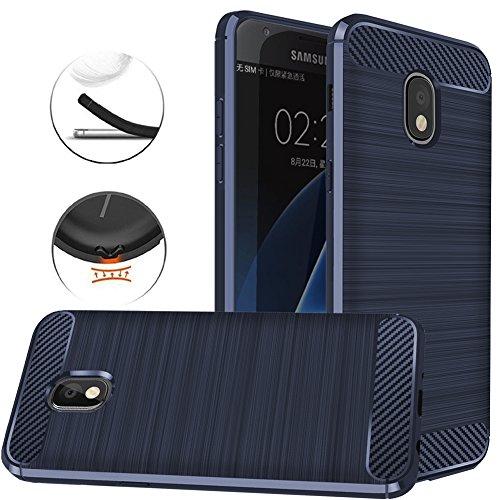 for Samsung Galaxy J7 2018/J7 V 2nd Gen/J7 Aero/J7 Star/J7 Top/J7 Crown/J7 Aura/J7 Refine/J7 Eon Case, Dretal Shock Resistant Brushed Texture Flexible TPU Protective Cover (Navy)