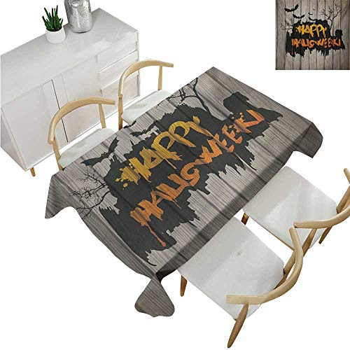familytaste Halloween,Tablecovers Rectangular,Happy Graffiti Style Lettering on Rustic Wooden Fence Scary Evil Holiday Artwork,Table Cloth Cover Wedding Event Party 60
