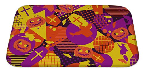 Gear New Bath Mat For Bathroom, Memory Foam Non Slip, Halloween Memphis Pattern Festive With Mystical Creatures And Geometric Figures, 34x21, (Popular Halloween Costumes 1990s)