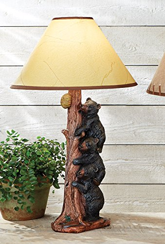 Black Forest Décor Three Black Bears Table Lamp