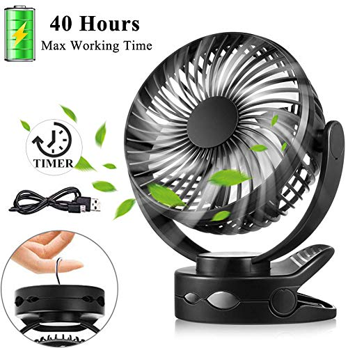 Battery Operated Clip on Fan, Portable Baby Stroller Fan with Timer, 4 Speed Quiet Personal Cooling Mini Desk Fans, 4400mAh USB Rechargeable Small Hanging Fans for Camping Gym Car Travel Home Office