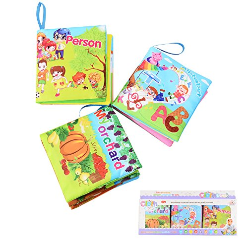 FunsLane Baby Soft Cloth Books Baby First Book Non-Toxic, Fabric, Colorful, Squeak and Rattle, Crinkle Children Educational Toys, Baby Shower Gifts for Boy and Girl, Pack of (Cloth Childrens Books)