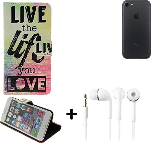 Case 360° Cover pour Smartphone Apple iPhone 7, 'live the life you love' | Fonction Stand Case Wallet BookStyle meilleur prix, la meilleure performance - K-S-Trade (TM)