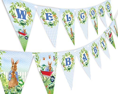 Peter Rabbit Welcome Baby Banner Pennant - Baby Shower Decoration]()