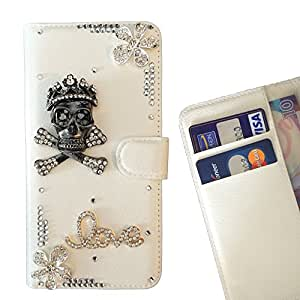 For Samsung GALAXY S6/G9200 Skull Love Flowers Leather Case Diamond Crystal Case Cover Handmade Bling Flip Minions Case