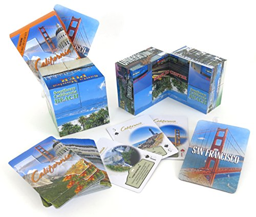 California Souvenir gift set, includes unique folding cube, a deck of playing cards and a large magnet. (Playing Cube)