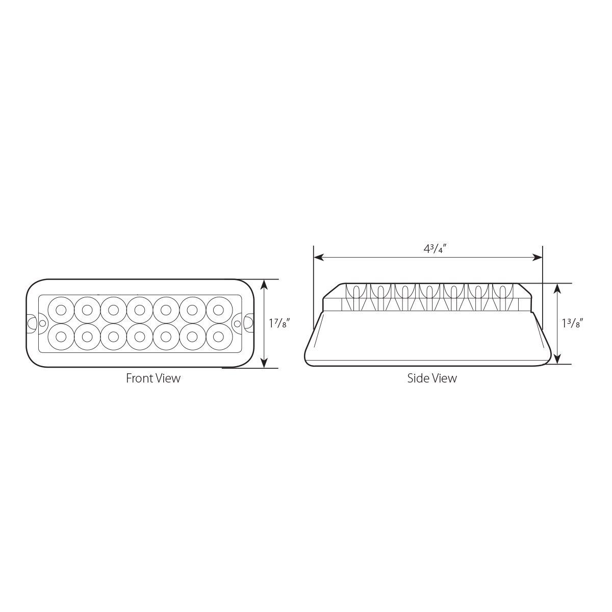 Grand General 81824 White//Clear Medium Rectangular 14 LED Strobe Light