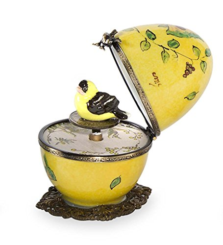 Butterfly and Bird Limoges Egg - Yellow