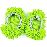 Sungpunet Dust Mop Slippers Comforable Shoes Floor Cleaner, Green