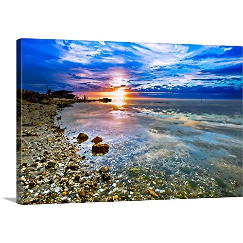 Many Shells On Beach Sunrise Transparent Sea Canvas Wall Art Print, 48