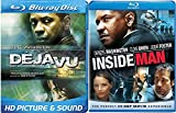 Deja Vu & The Inside Man Blu Ray + DVD 2 Pack Denzel Washington Double Feature Bundle Action Movie Set