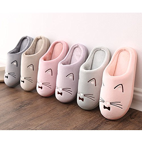 House JadeRich Cat Warm Winter Pattern Slippers Fleece Cozy Green YTPxAYqr
