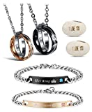 Hanpabum His & Hers Matching Set Stainless Steel Couple Bracelets Necklace Set Korean Pendant Relationship Jewelry (A)