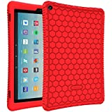 """Fintie Silicone Case for All-New Amazon Fire HD 10 Tablet (7th Generation, 2017 Release) - [Honey Comb Series] [Kids Friendly] Light Weight Shock Proof Back Cover for Fire HD 10.1"""" Tablet, Red"""