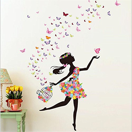 Amtoodopin Fairy Wall Stickers Birdcage Bird Elf Girl Princess Wall Decals Butterfly Flowers Dancing Girls Angel Wings Wall Decor DIY for Windows Bedroom Living Room Decoration(Flower Fairy Birdcage) (Princess Mirror Wall Decals)