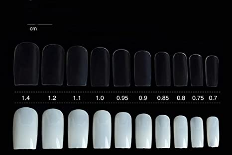 Amazon.com : 100PCS 10 Different Sizes Transparent Acrylic Artificial All Stick Style False Nails Art Mold Tips Decoration With Glue for DIY : Beauty