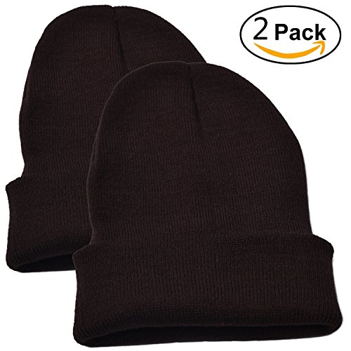 Woogwin Beanie Cap Winter Hats for Men Women Knitted Warm Hat Solid Color (Coffee)