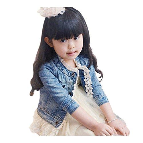 EGELEXY Girls Baby Toddler Floral Lace Denim Zipper Pockets Jacket Coat 2-7 Years 2/3T Blue