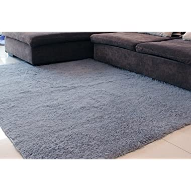 Super Soft Modern Shag Area Rugs Living Room Carpet Bedroom Rug for Children Play Solid Home Decorator Floor Rug and Carpets 4- Feet By 5- Feet (Grey)