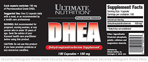 Ultimate Nutrition DHEA-Dehydroepiandrosterone Capsules (100 Caps/100mg) by Ultimate Nutrition (Image #1)