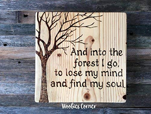 Funlaugh Nature and Into The Forest I Go to Lose My Mind and Find My Soul Nature Lover Decor Nature Decor Rustic Wood Sign Plaque Home Wall Art Decoration Sign Gift -