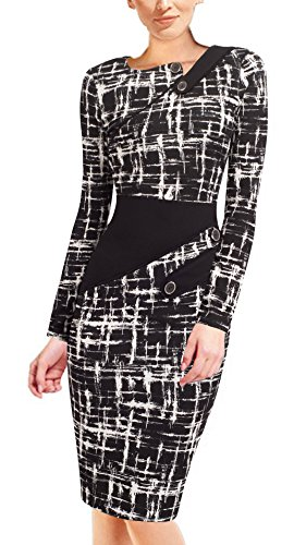 HOMEYEE Women's Voguish Colorblock Wear to Work Pencil Dress B231 (18, L+Black)