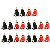 Areyourshop 20 Pcs RCA Right Angle Plug Adapters M/F 90 Degree Elbow