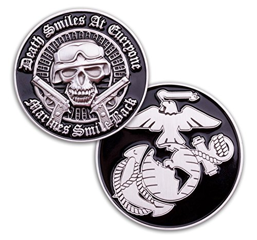 Challenge Corps Coin (Marine Corps Death Smiles Challenge Coin - USMC challenge coin - Designed for Marines BY Marines - Officially Licensed Military Coin)