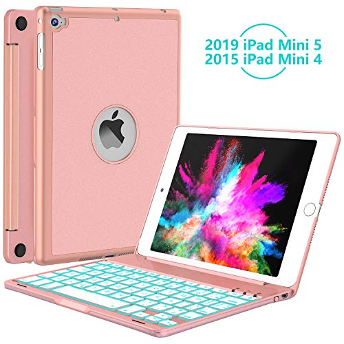 iPad Mini 5 / Mini 4 Keyboard - 135 Degree Flip - 7 Color Backlit - Auto Sleep/Wake - Smart Wireless Keyboard with Aluminum Hard Shell Cover for iPad Mini 5th Gen 2019 / iPad Mini 4 2015, Rose Gold