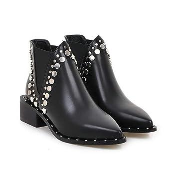 NAFTY Zapatos De Mujer Negro Invierno PU Cuero Mujer Zapatos Cuadrados Med Heel Punk Botines con Tachuelas Motorcyle Montar Chelsea Boots: Amazon.es: ...