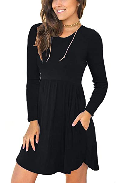 Alizco Womens Casual Swing Long Sleeves Pockets Loose Dresses At