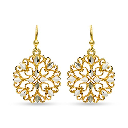 LeCalla Women's Sterling Silver Jewelry Turkish Diamond Cut Filigree Dangle Earrings Ear Wire