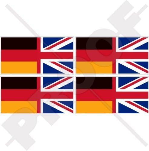 Deutschland Uk Flagge Deutsch Britischer Union Jack Deutschland Vereinigtes Königreich 50mm Auto Motorrad Aufkleber X4 Vinyl Stickers Garten