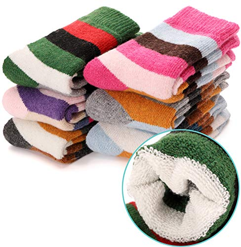 Kids Girls Boys Wool Socks Thick Warm Thermal For Kid Child Toddlers Cotton Winter Crew Socks 6 Pairs
