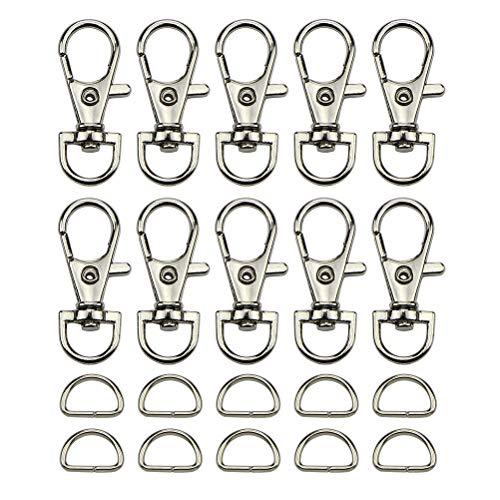 - 120 PCS Lobster Clasp - 60 PCS Swivel Lobster Claw Clasps Key Chain Hooks + 60 PCS D Rings Keychain for Jewelry&Keychain DIY Making, Silver Stainless Steel, Sold by DALU.A.F