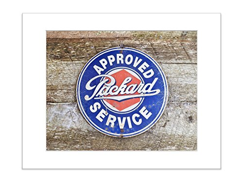 - Vintage Packard Ad Sign Rustic Man Cave Decor 8x10 Matted Photo