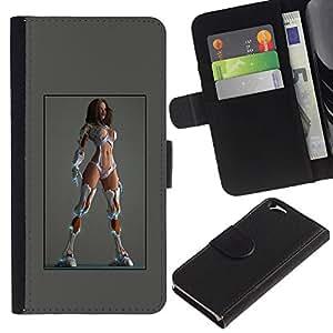 KLONGSHOP // Tirón de la caja Cartera de cuero con ranuras para tarjetas - trapos sexy grises blancas piernas lingerie - Apple Iphone 6 //
