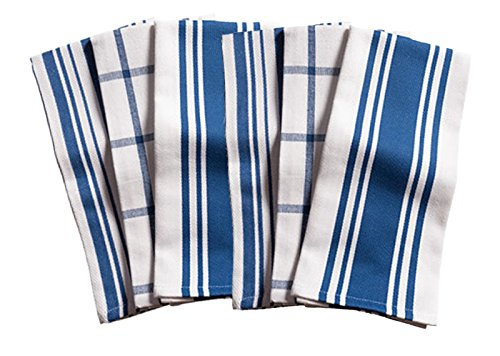 KAF Home Kitchen Towels, Set of 6, Blue & White, 100% Cotton, Machine Washable, Ultra Absorbent