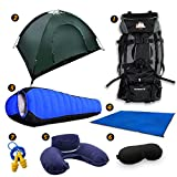 Full Camping Kit by Traveler Fantasy - 80L Large Bag, 2 Person Tent, Tent Mat, Mummy Sleeping Bag, Inflatable Pillow, Ear Plug and Eye Covers (Green Tent)