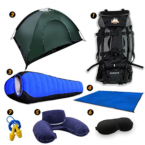 Full Camping Kit by Traveler Fantasy - 80L Large Bag, 2 Person Tent, Tent Mat, Mummy Sleeping Bag, Inflatable Pillow, Ear Plug and Eye Covers (Green Tent) by Traveler Fantasy