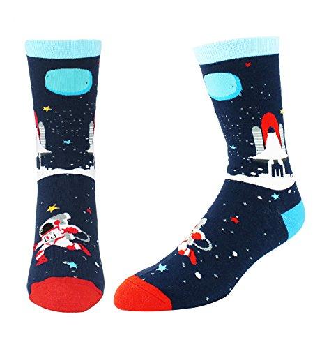 Men's Novelty Funny Space Crew Socks Fun Crazy Astronaut Rocket Nerd Socks -