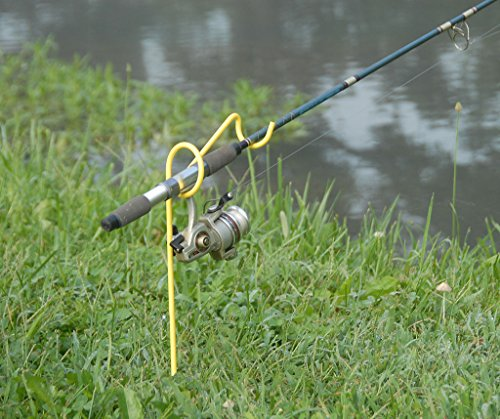 RITE-HITE Bank Fishing Single-Rod Holder - Holds Your Fishing Rod & Reel at the Optimum Angle, Great for Fishing on Lakes and Streams