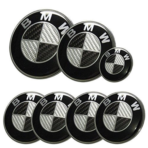 (Replacement Black Carbon Fiber Round 7pcs 82mm Front 73mm Back 44mm Steering 68mm Wheel Caps Emblem)